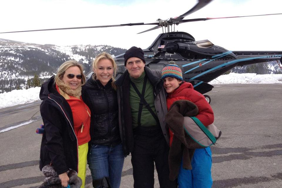 Kim (left) and James Taylor with son Rufus and skier Lindsey Vonn after their helicopter ride.