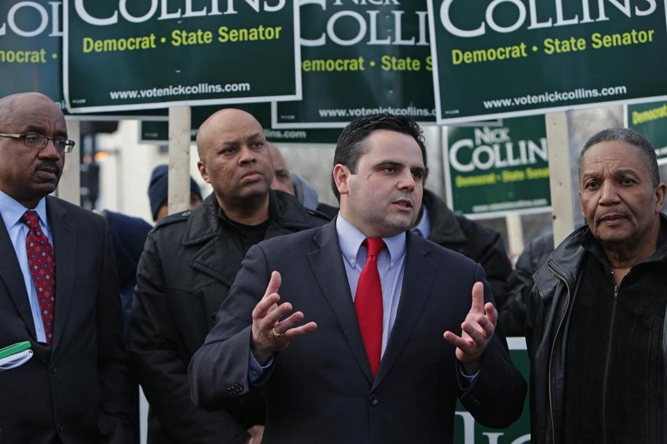 State Senate candidate Nick Collins was joined by community leaders and minority advocates in Dorchester Tuesday.