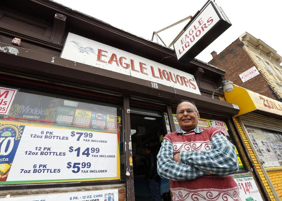 Store employee Pravin Mankodia outside Eagles Liquors in Passaic, N.J. Monday, March 25, 2013. Mankodia sold the winning $338 million Powerball ticket.