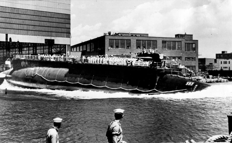 The 278-foot nuclear submarine Thresher was launched bow-first at Portsmouth Navy Yard July 9, 1960. The Thresher disappeared in 1963 off the shore of Cape Cod.