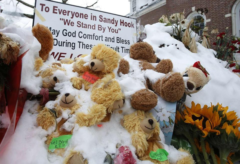 A makeshift memorial in Newtown, Conn., approximately three weeks after the shootings at Sandy Hook Elementary.