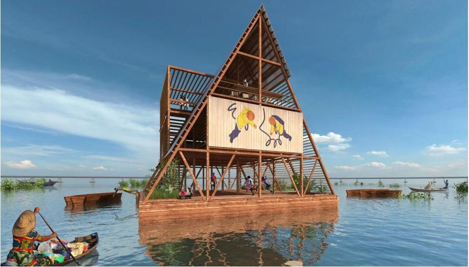 The Makoko Floating School, a three-story building that floats atop recycled barrels.