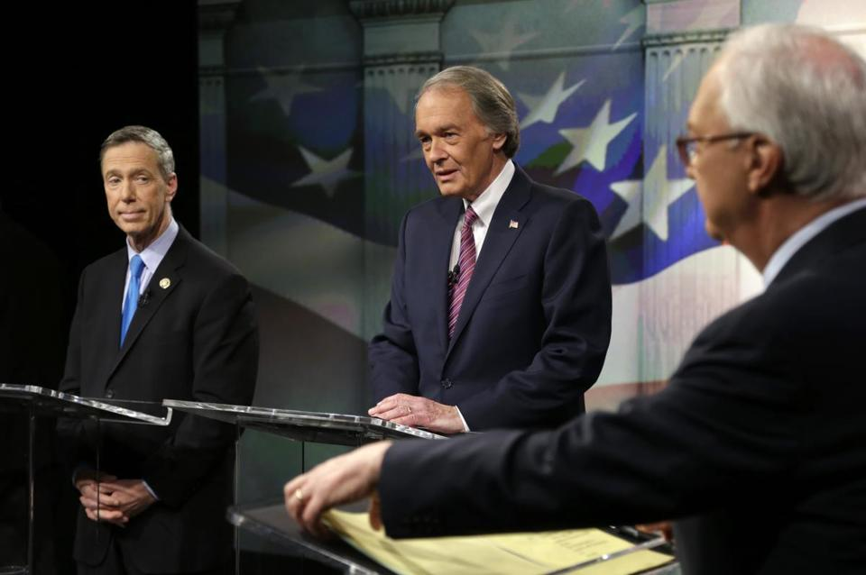 Stephen Lynch, left, and Edward Markey appeared in a televised debate that also featured the three GOP hopefuls earlier. The event was moderated by R.D. Sahl, right.