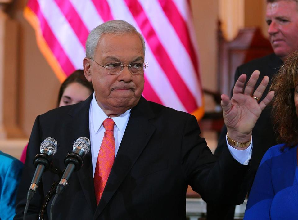 Mayor Thomas M. Menino waved goodbye at Boston's Faneuil Hall after announcing he would not run for mayor again.