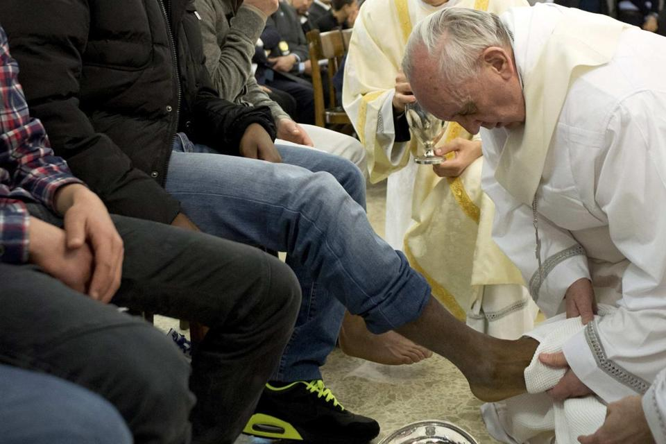 Pope Francis washed the feet of 12 inmates at a juvenile detention facility in Rome, including some who were Orthodox and Muslim detainees.