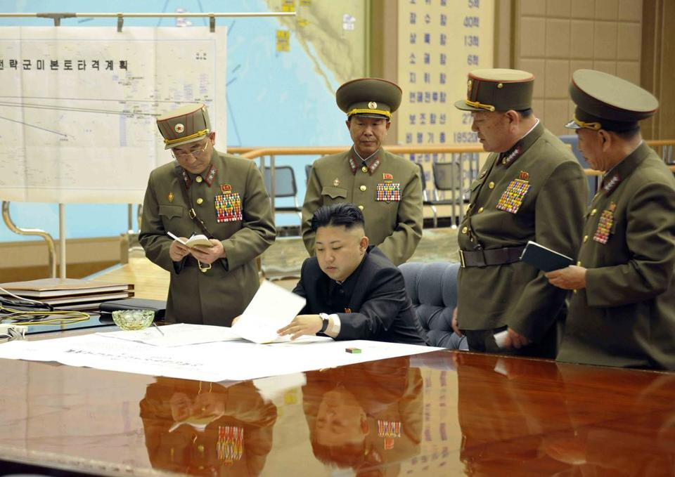 North Korean leader Kim Jong-un presideed over a meeting in Pyongyang on Friday.