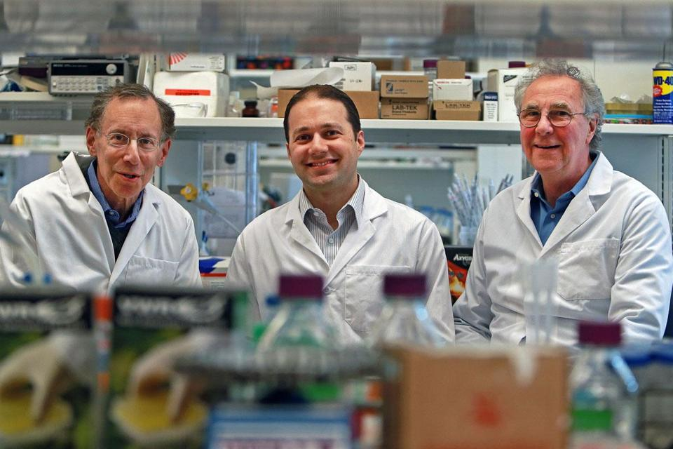 Entrega Inc. scientists (from left) Robert Langer, Jonathan Behr, and Colin Gardner see a bright future for its product.