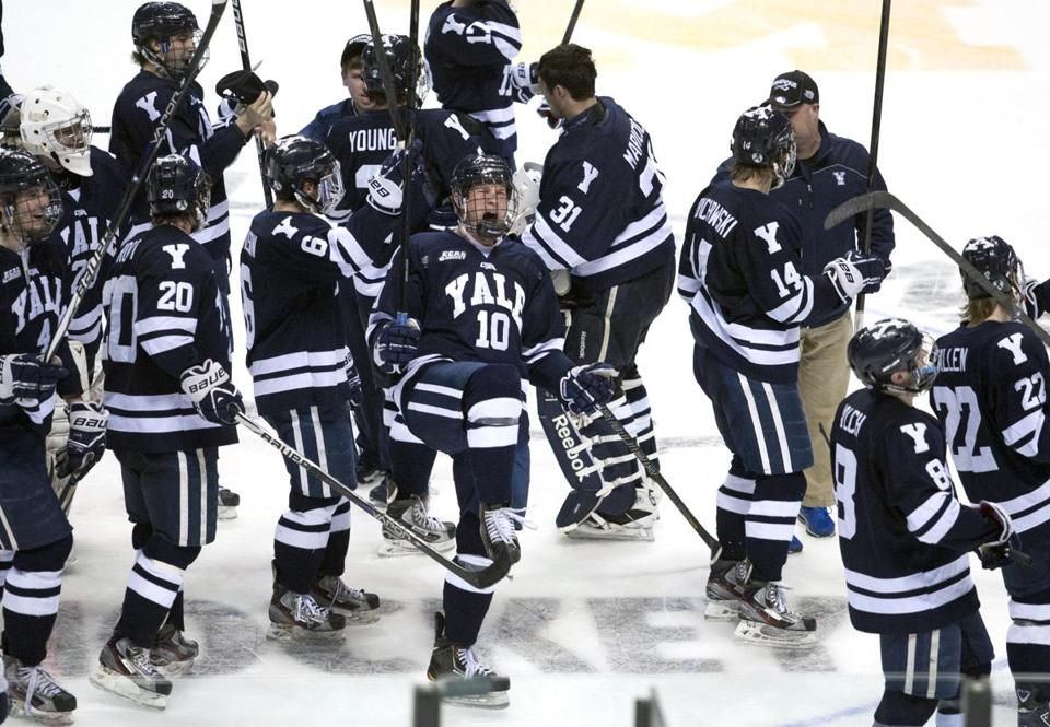 Mitch Witek (10) and his Yale teammates got a leg up on North Dakota in a stunning win in the West Regional final.