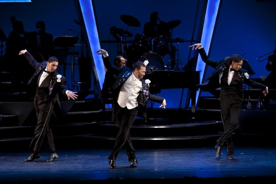Maurice Hines performed with protégés John Manzari (left) and Leo Manzari, brothers he discovered four years ago in Washington.