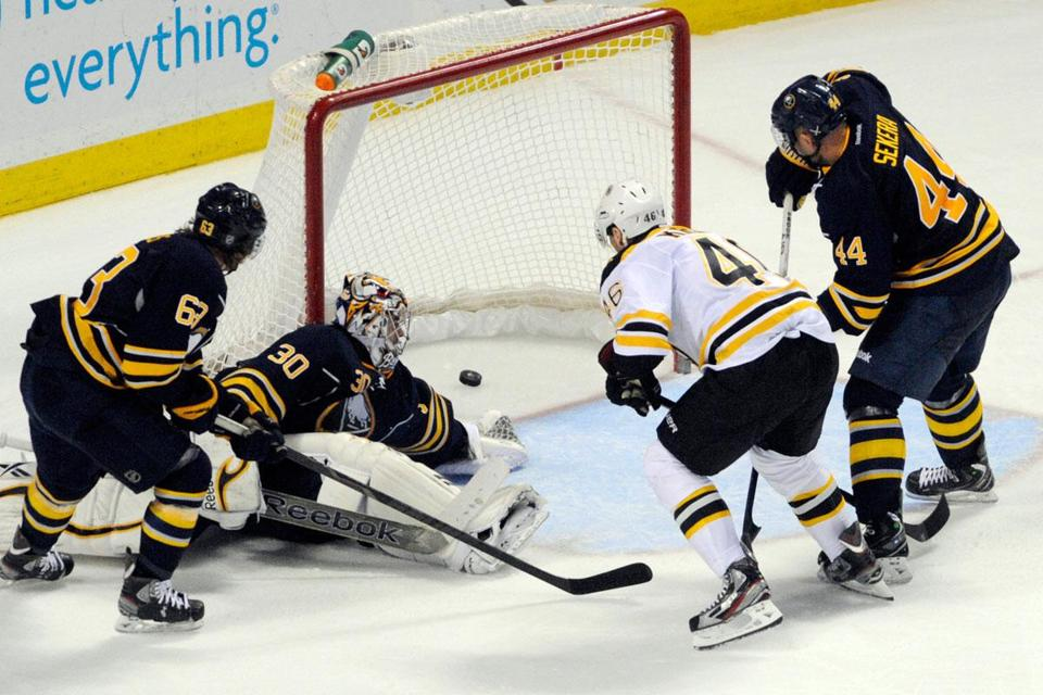 Boston's David Krejci showed some net-front presence as he banged a rebound past Buffalo goalie Ryan Miller in the third.