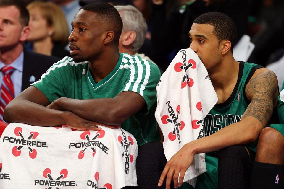 There wasn't much for Jeff Green (left) and Courtney Lee to discuss as the Celtics' 19-point loss ticked down.