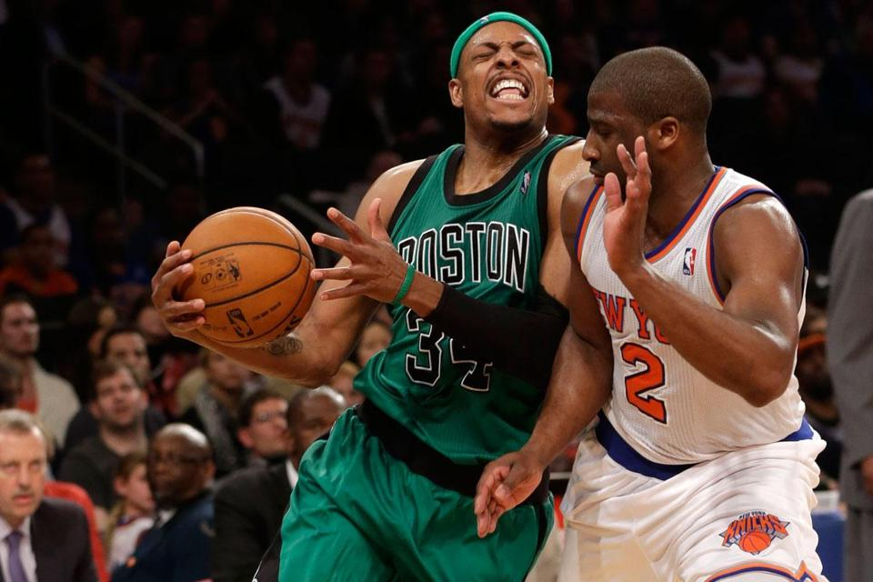 Paul Pierce (left), getting fouled by the Knicks' Raymond Felton, says the Celtics will be ready for the playoffs.