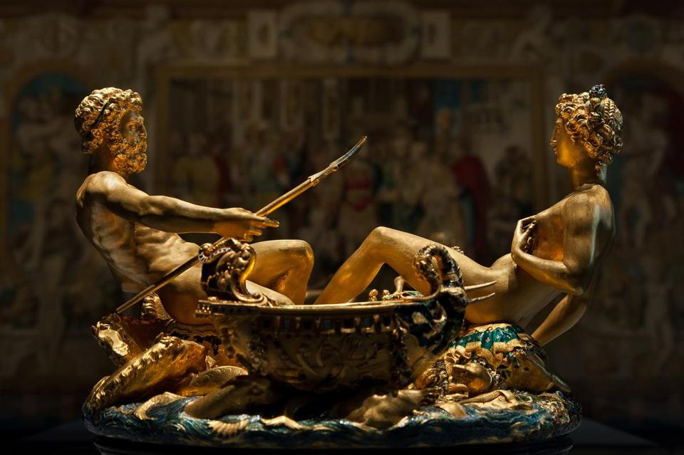 Benvenuto Cellini's 16th-century Saliera (Saltcellar) is a part-enameled gold table sculpture. The male represents the sea, the female, the earth.