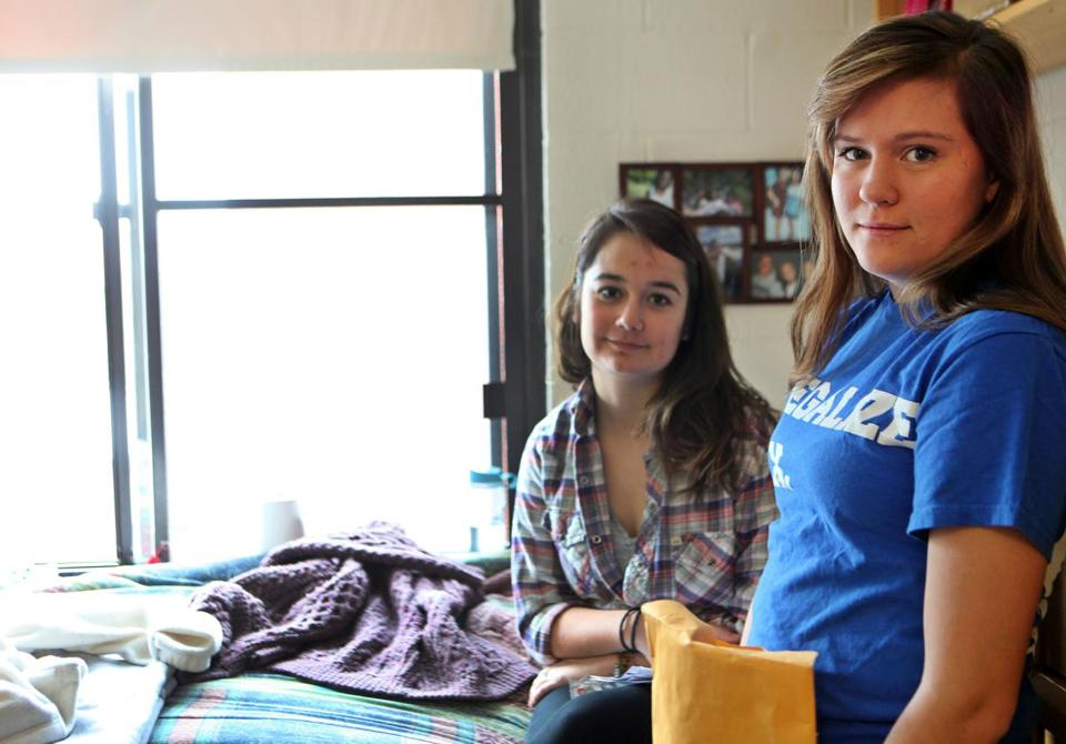 Boston College sophomores Erika Bjerklie, left, and Jessika Parry are on the board of BC Students for Sexual Health.