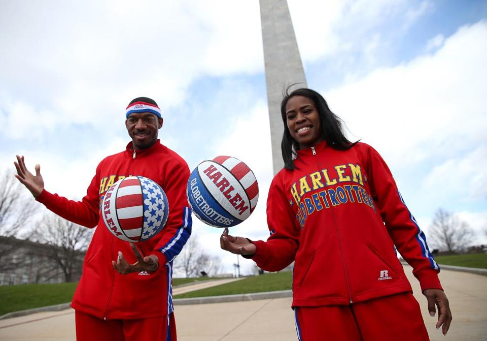 Globetrotters Buckets Blakes and TNT Maddox in Charlestown.