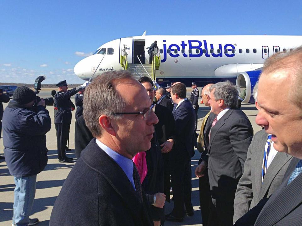 Mayor Joseph M. Petty of Worcester greeted JetBlue's Dave Barger. Barger says the airline is in Worcester for the long haul.