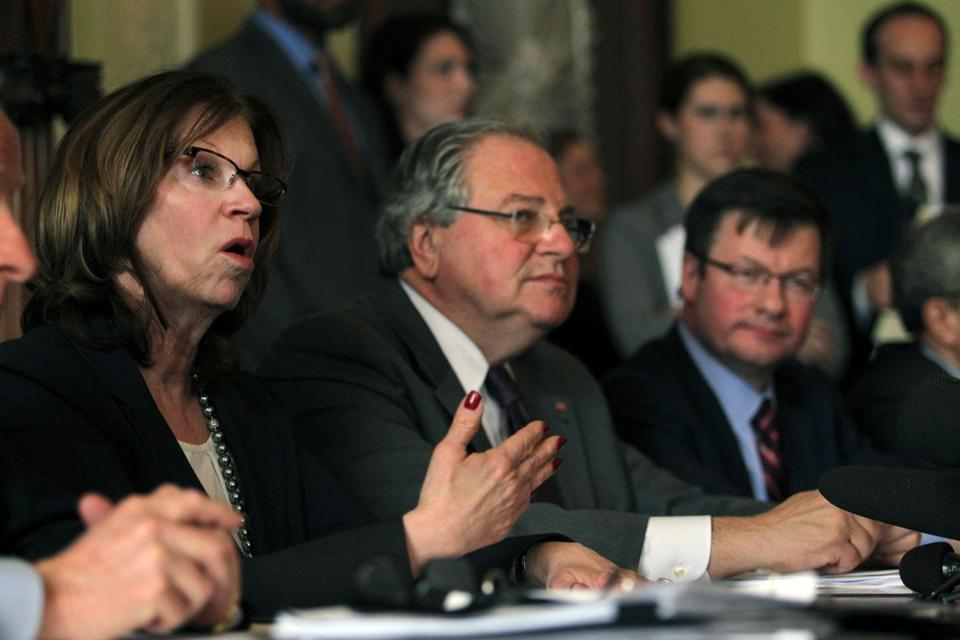 Senate President Therese Murray and House Speaker Robert DeLeo unveiled a transportation funding plan.