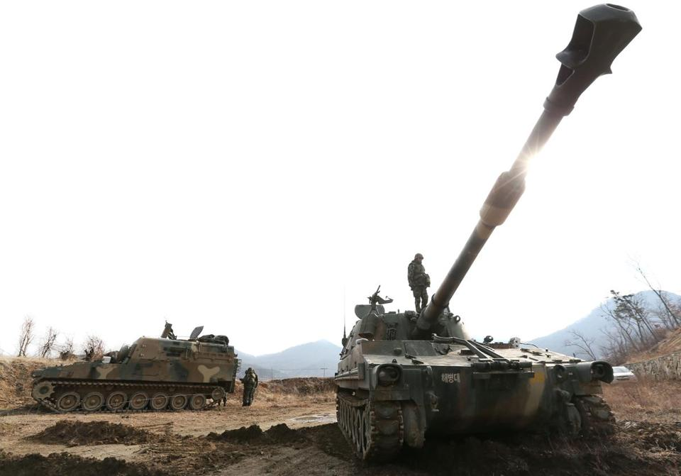 South Korean marines man K-55 self-propelled howitzers on the western island of Ganghwa, near the disputed maritime frontier with North Korea last month.