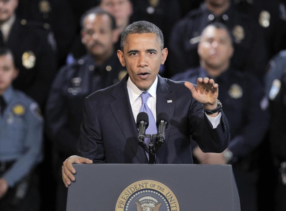 President Obama spoke about gun control at the Denver Police Academy.