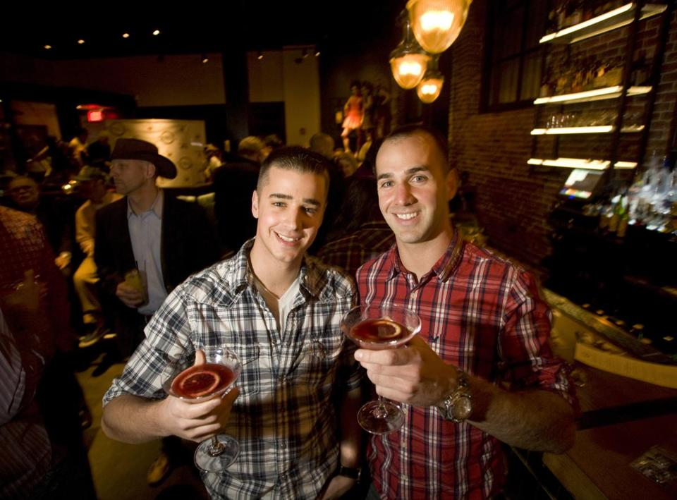 CHOP CHOP: Josh Carr and Joe Castro, both of Boston, at the opening party at Boston Chops restaurant in the South End on April 2