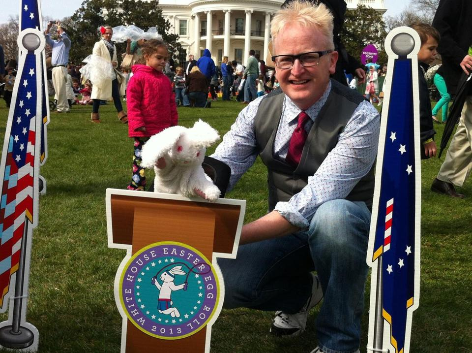 Magician Mike Bent of Belmont performs with Puff, his rabbit puppet, at the 135th annual White House Easter Egg Roll on April 1.