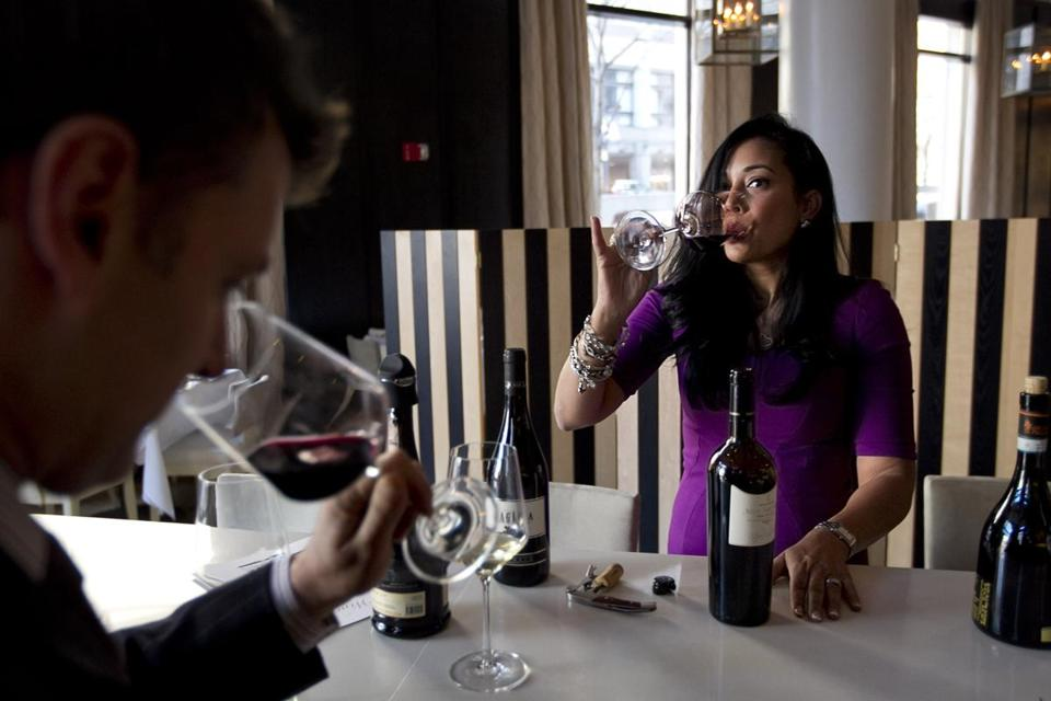 Judith McDonough sampled wine with Dominick Minots of Sorellina Restaurant in Boston earlier this month.