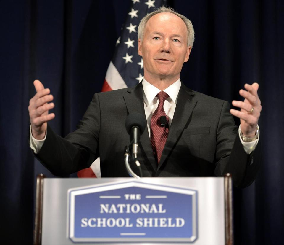 Asa Hutchinson, a former Republican congressman from Arkansas, led a National Rifle Association task force on school shootings. He discussed the findings of the task force last week in Washington.