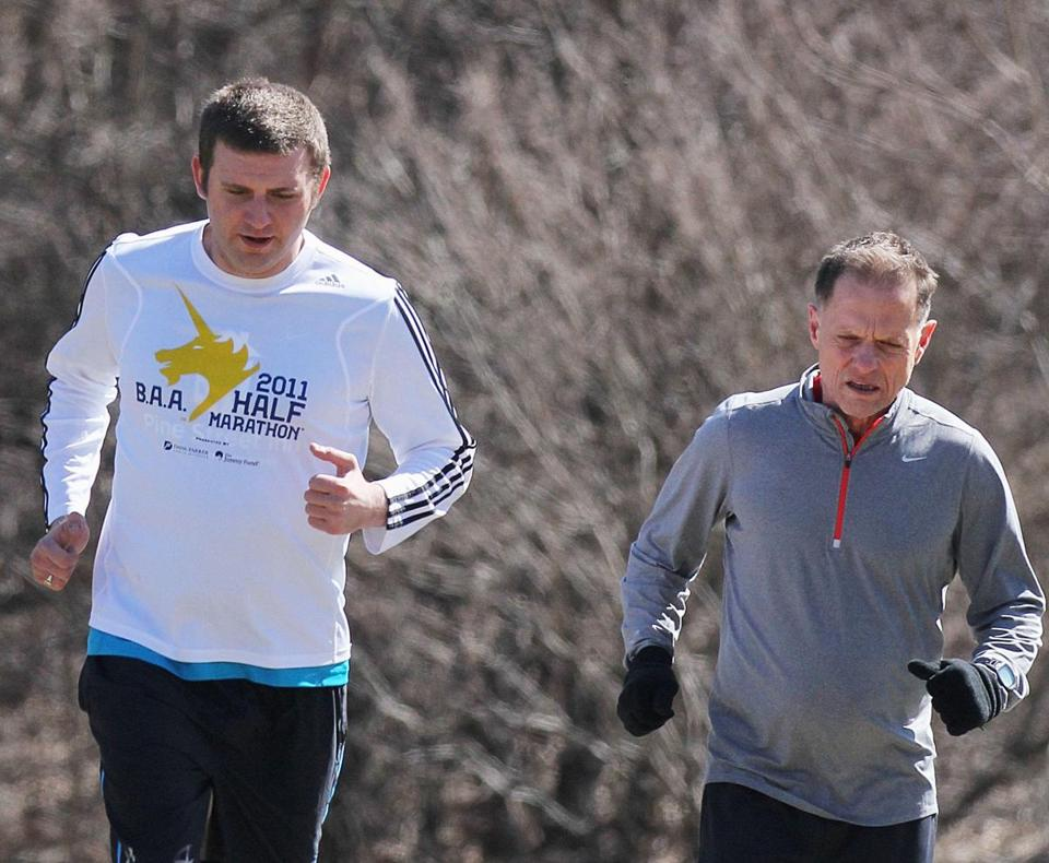 Stephen Stephenson (left) and coach Mike Ferullo trained in Franklin Park nine days before Stephenson's first Marathon.