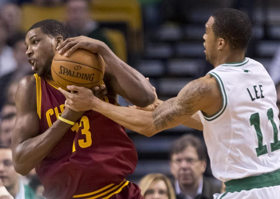 Courtney Lee battled with Tristan Thompson during the first quarter at TD Garden.