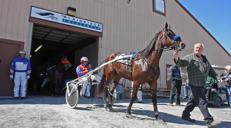 Pacer Rhudaur Hanover is led out of the barn by owner Glenn Harris, with driver Ralph Andersen in the sulky.