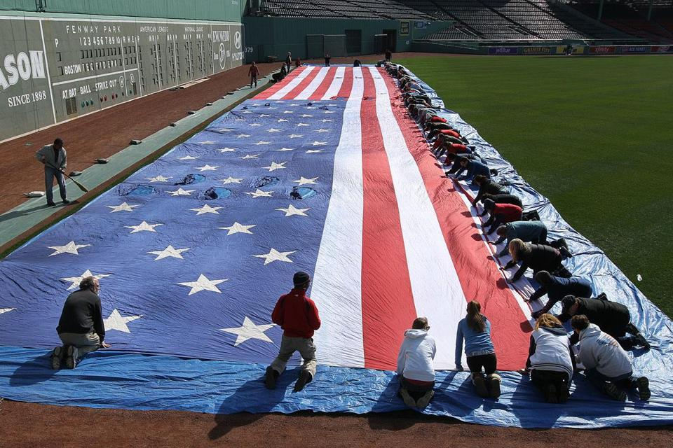 The flag was readied Sunday for its Opening Day unfurling.