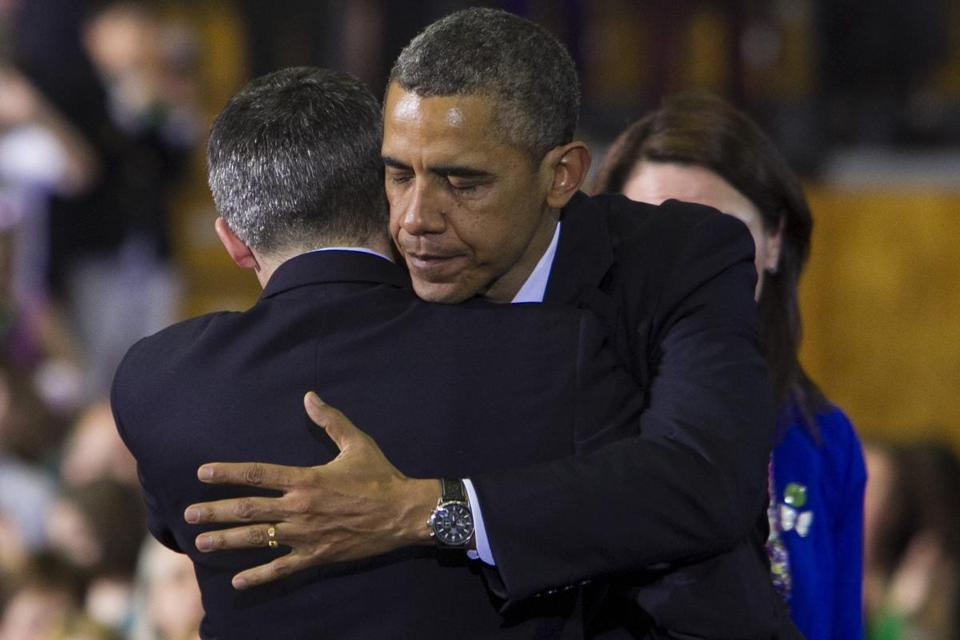 At the University of Hartford, President Obama comforted Ian Hockley, whose son died in the Newtown, Conn., shootings.