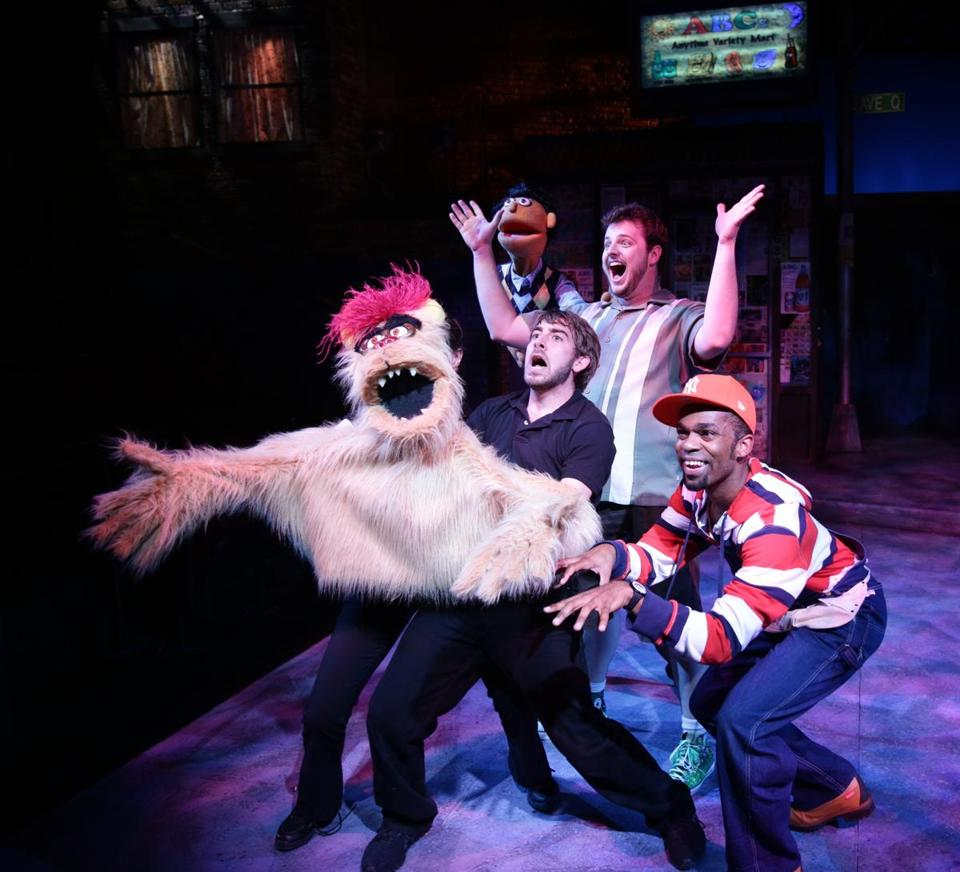 "Phil Tayler, Harry McEnerny V, and Davron S. Monroe in ""Avenue Q."""