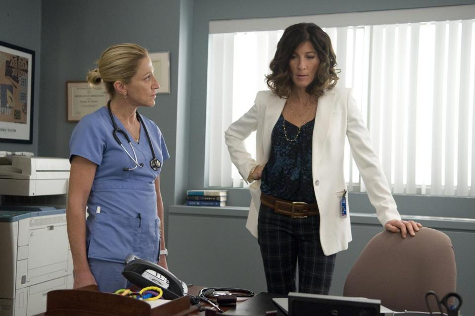 "Edie Falco (left) and Eve Best in Showtime's ""Nurse Jackie,"" which returns for its fifth season on Sunday night."
