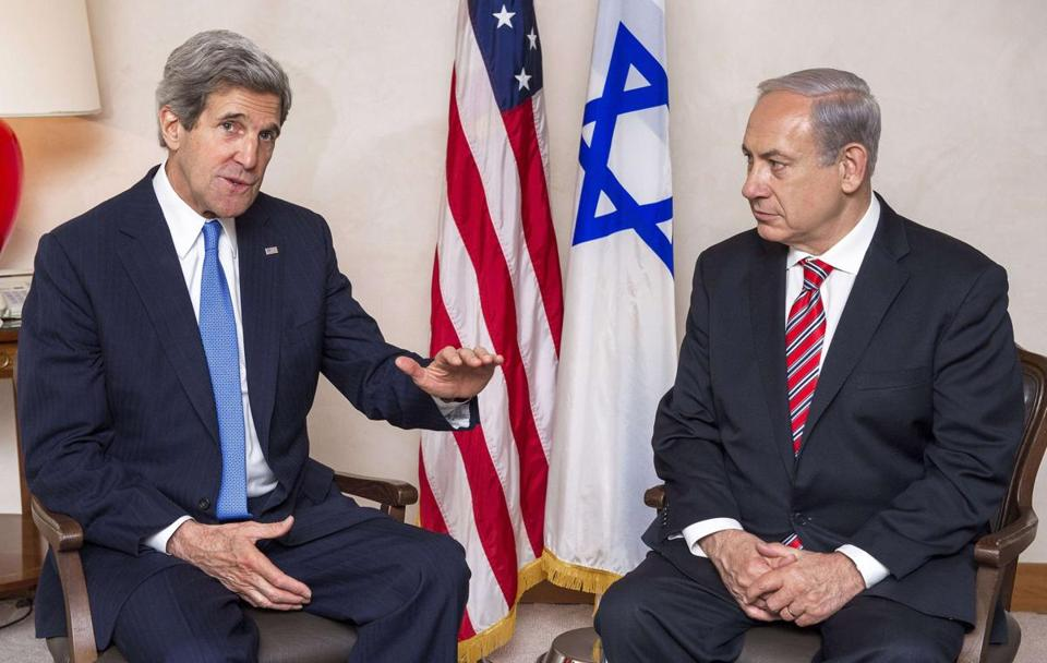 US Secretary of State John Kerry spoke during a meeting with Israel's Prime Minister Benjamin Netanyahu in Jerusalem on Tuesday.
