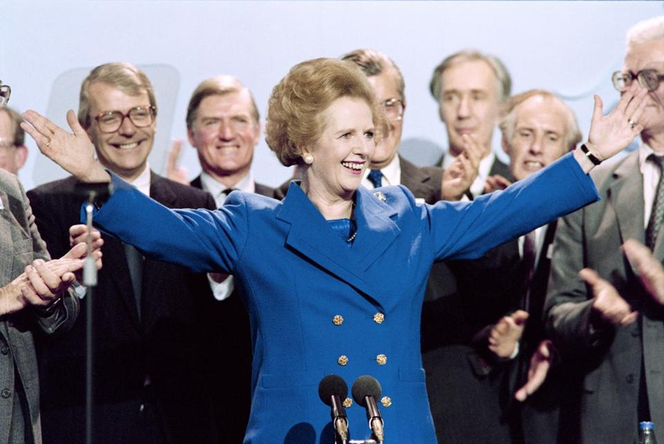 Prime Minister Margaret Thatcher acknowledged applause at the end of the Conservative Party conference in Blackpool.