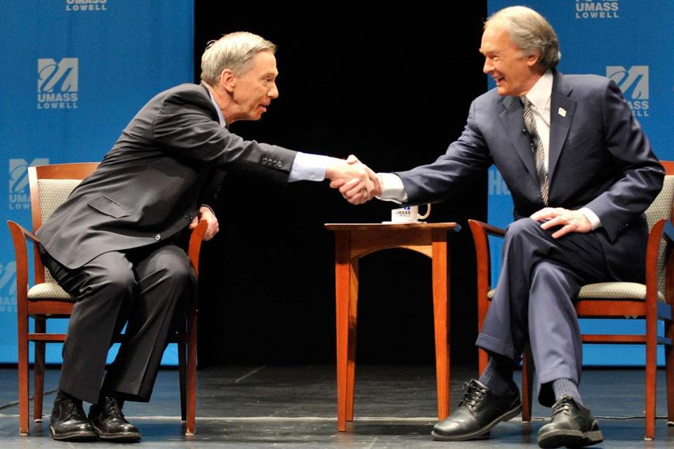 US Representatives Stephen F. Lynch and Edward J. Markey shook hands at the start of a debate at UMass Lowell.