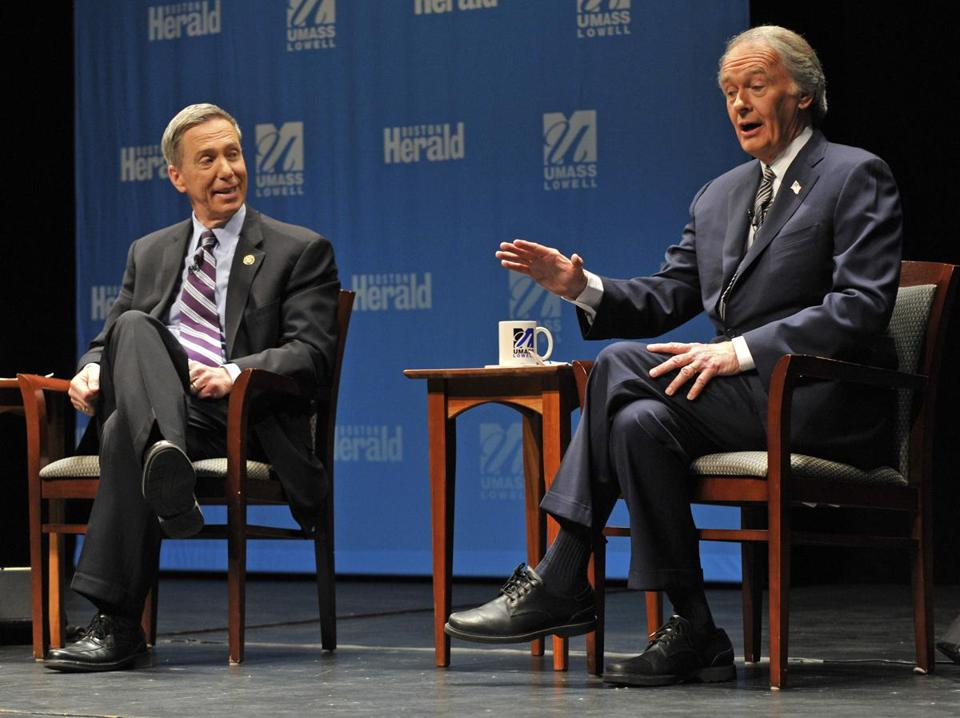 US Representatives Stephen Lynch, left, and Edward Markey participated in a debate at UMass Lowell.