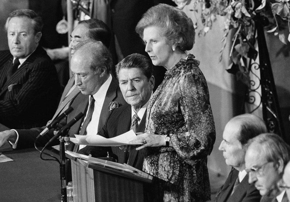 Margaret Thatcher spoke at the 1984 Economic Summit in London as, from left, Japanese Prime Minister Yasuhiro Nakasone, Canadian Prime Minister Pierre Trudeau, and President Ronald Reagan listened.