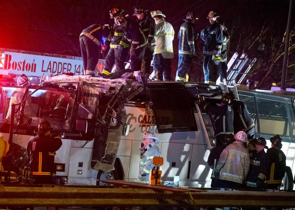 Dozens of youths who were visiting Harvard University were injured Feb. 2 when a bus slammed into the Western Avenue overpass on Soldiers Field Road.