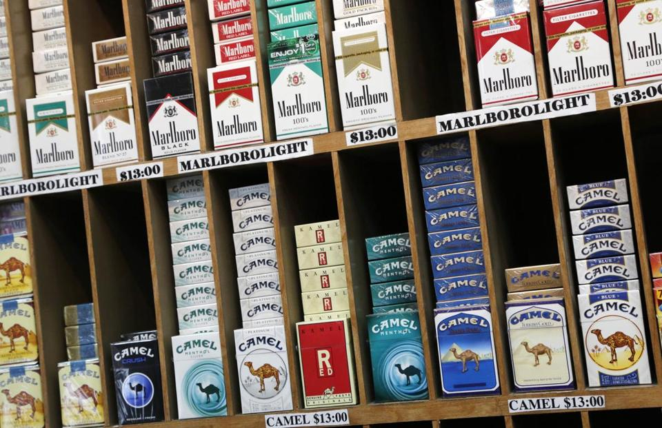 Cigarette packs at a convenience store in New York.
