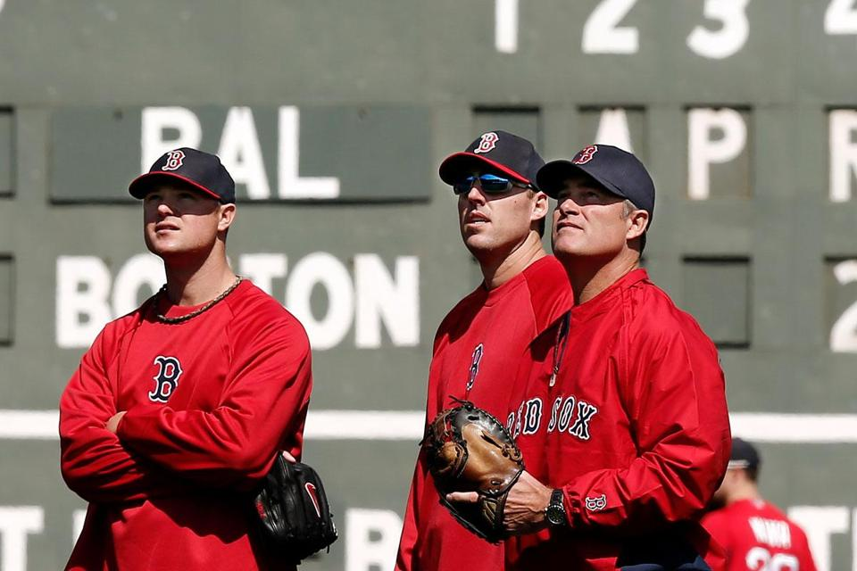 Red Sox manager John Farrell (right) looks to his pitchers, including Jon Lester (left) and John Lackey, to lead his club.