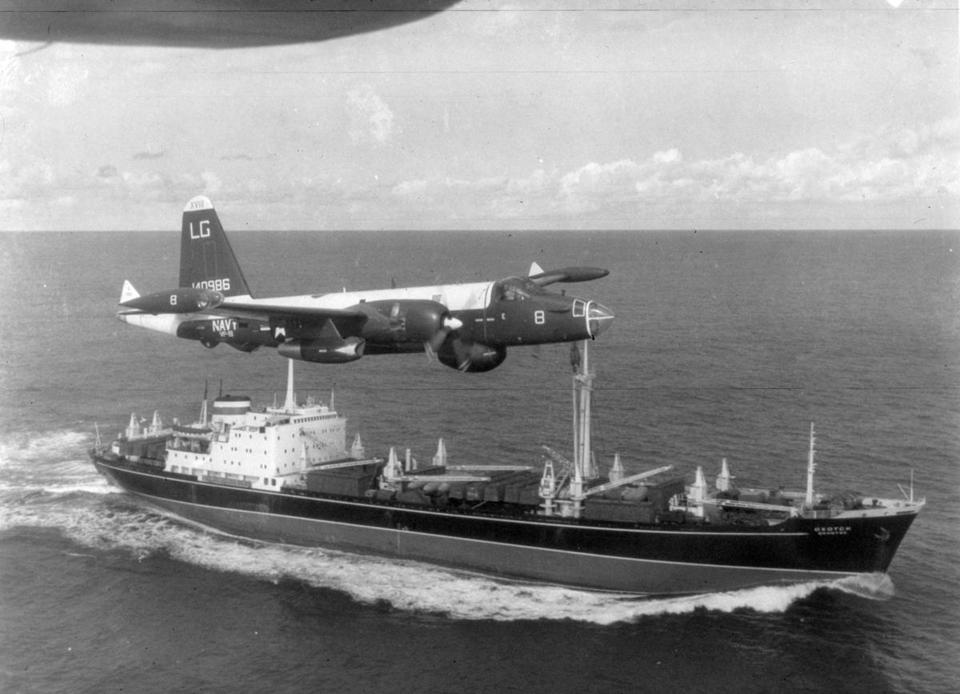 A P2V Neptune US patrol plane flew ablove a Soviet freighter during the Cuban missile crisis in 1962 when the United States and the Soviet Union faced off about nuclear missiles on Cuba.