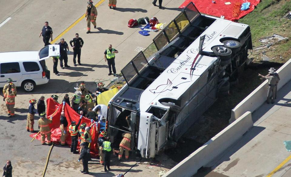 The cause of Thursday's accident near Dallas is unknown, authorities said. Forty-one people were sent to hospitals.