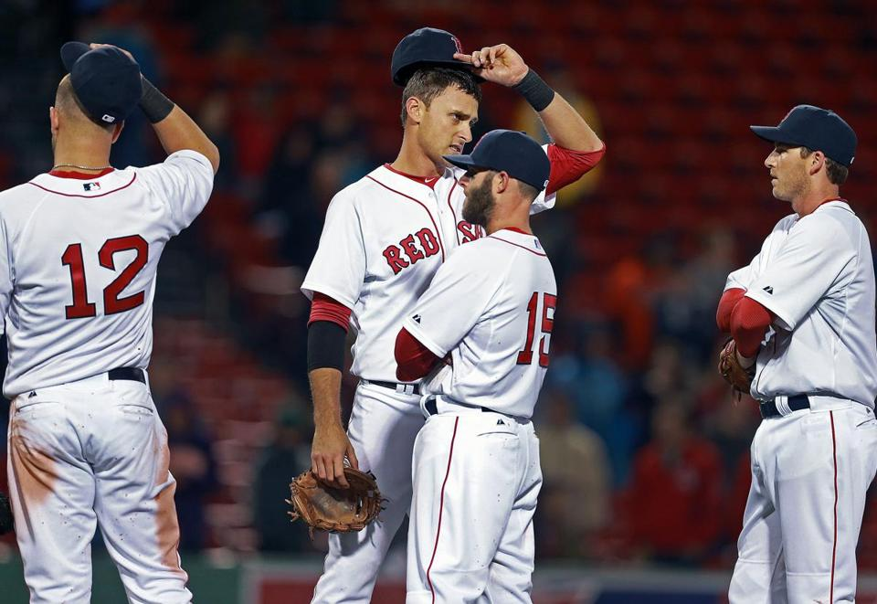 The Red Sox infielders were stunned after closer Joel Hanrahan was lifted amid a 5-run ninth inning for Baltimore.
