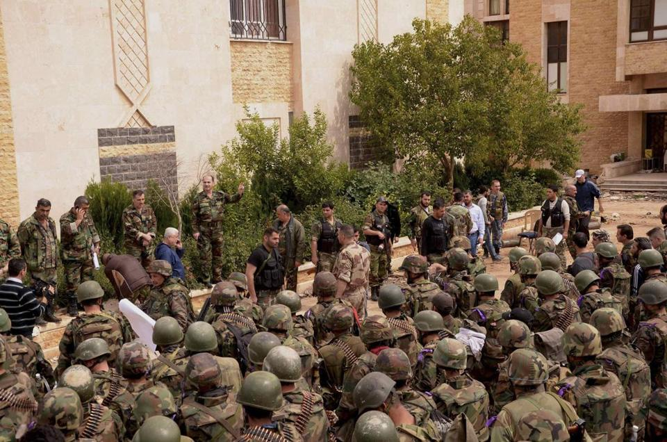 Syrian troops were briefed in the Liramoun area of Aleppo on Thursday ahead of an offensive against rebel forces.