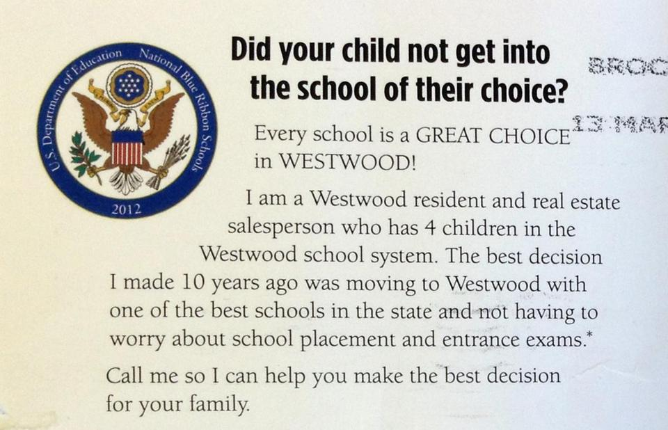 A flyer sent to parents in West Roxbury by real estate agent Stephanie Giroux touts school quality in Westwood.