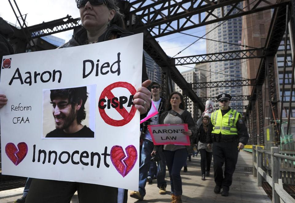 More than 150 people attended a rally in Dewey Square to remember Aaron Swartz, who committed suicide in January.