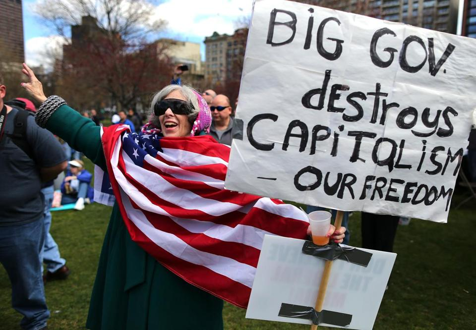 Christina Gordon joined hundreds of others at a Tea Party rally on Boston Common on Saturday. Grover Norquist, best known for the antitax pledge he asks members of Congress to sign, was the event's keynote speaker.