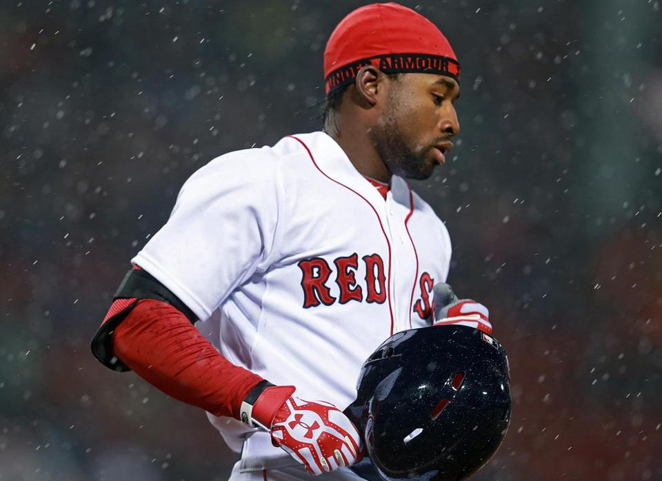 Jackie Bradley Jr. is hitless in his last 14 at-bats, with six strikeouts. Worse, he has not gotten the ball out of the infield in that stretch.